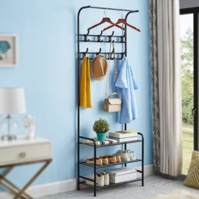 Coat Rack,Home Furniture,Multifunction 3 Tier Coat Rack Floor Standing Wardrobe