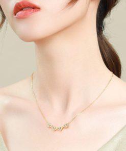 Clover Necklace,Leaf Clover Necklace,Four-Leaf Clover Necklace,Hollow Four-Leaf Clover Necklace