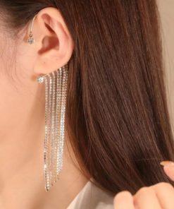 Tassel Earrings,Diamond Tassel Earrings,Sparkling Diamond,Sparkling Diamond Tassel Earrings